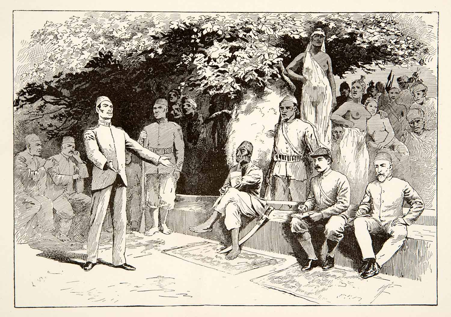 1890 Wood Engraving Mahdist Council Emin Pasha Relief Defense Court Nude XGPB5