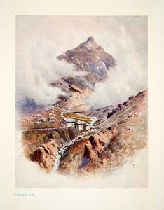 1907 Color Print Julier Pass Switzerland Swiss Alps Tranquil Town XGPB6