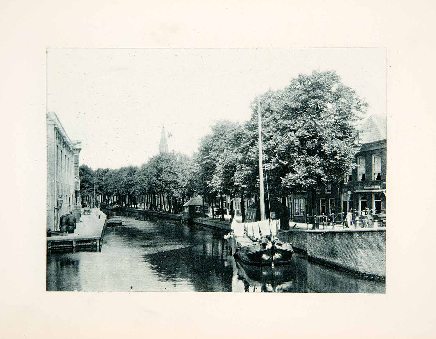 1904 Photogravure Delft Holland Canal Cityscape Sailboat Ship Historic XGPB7