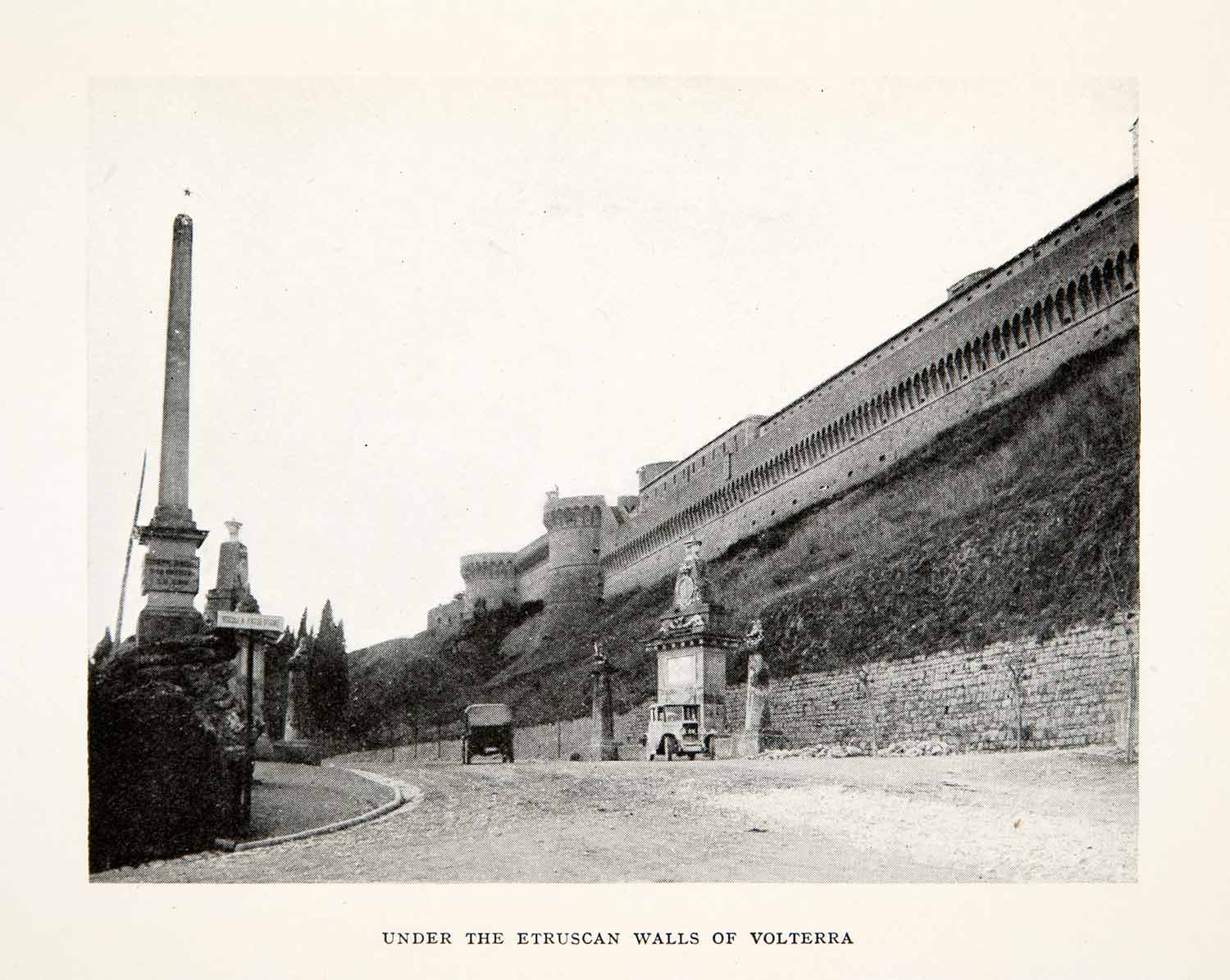 1928 Print Etruscan Walls Volterra Italy Tuscany Road Automobile XGPC1