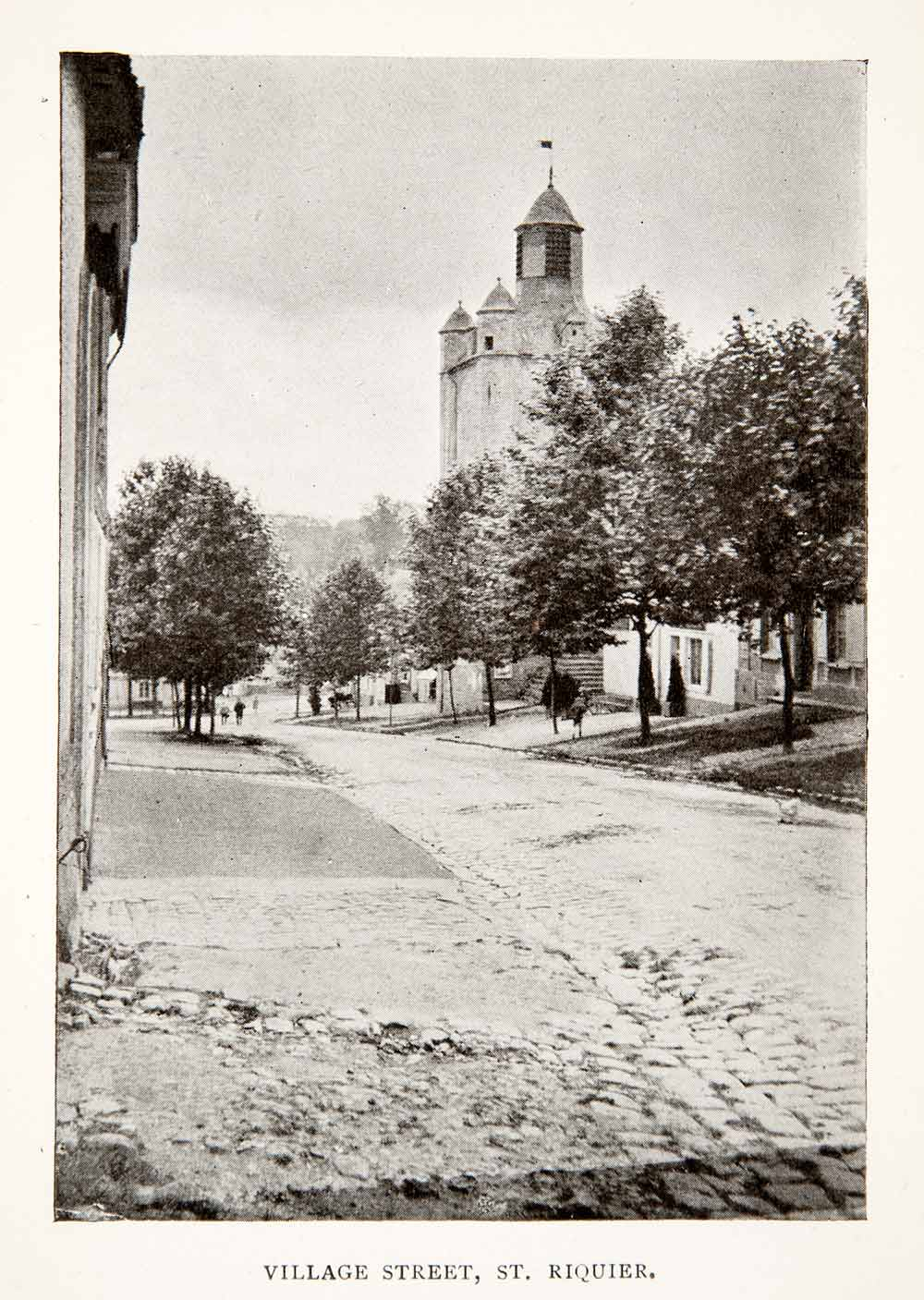 1918 Print St Riquier Church Picardy France Streetscape Cityscape Historic XGPC2