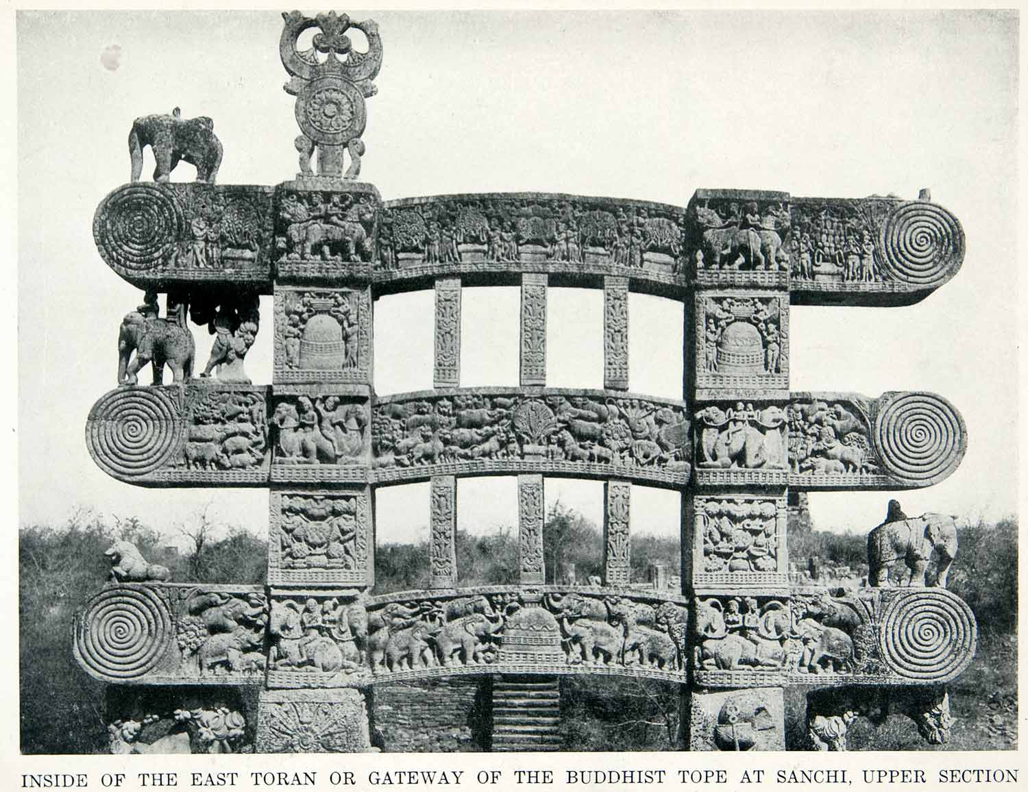 1912 Print Toran Gateway Buddhist Tope Sanchi Sacred Tree Animals Zumbro W XGPC7