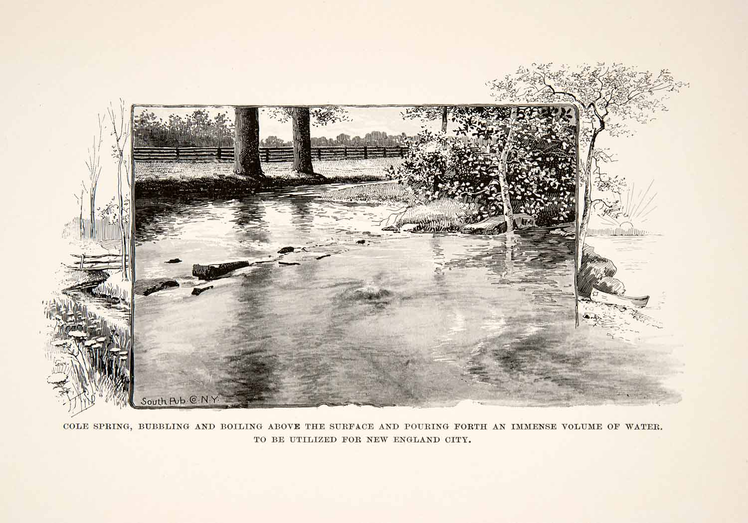 1890 Print Cole Spring New England City Georgia Outdoors Forest Water XGPC9