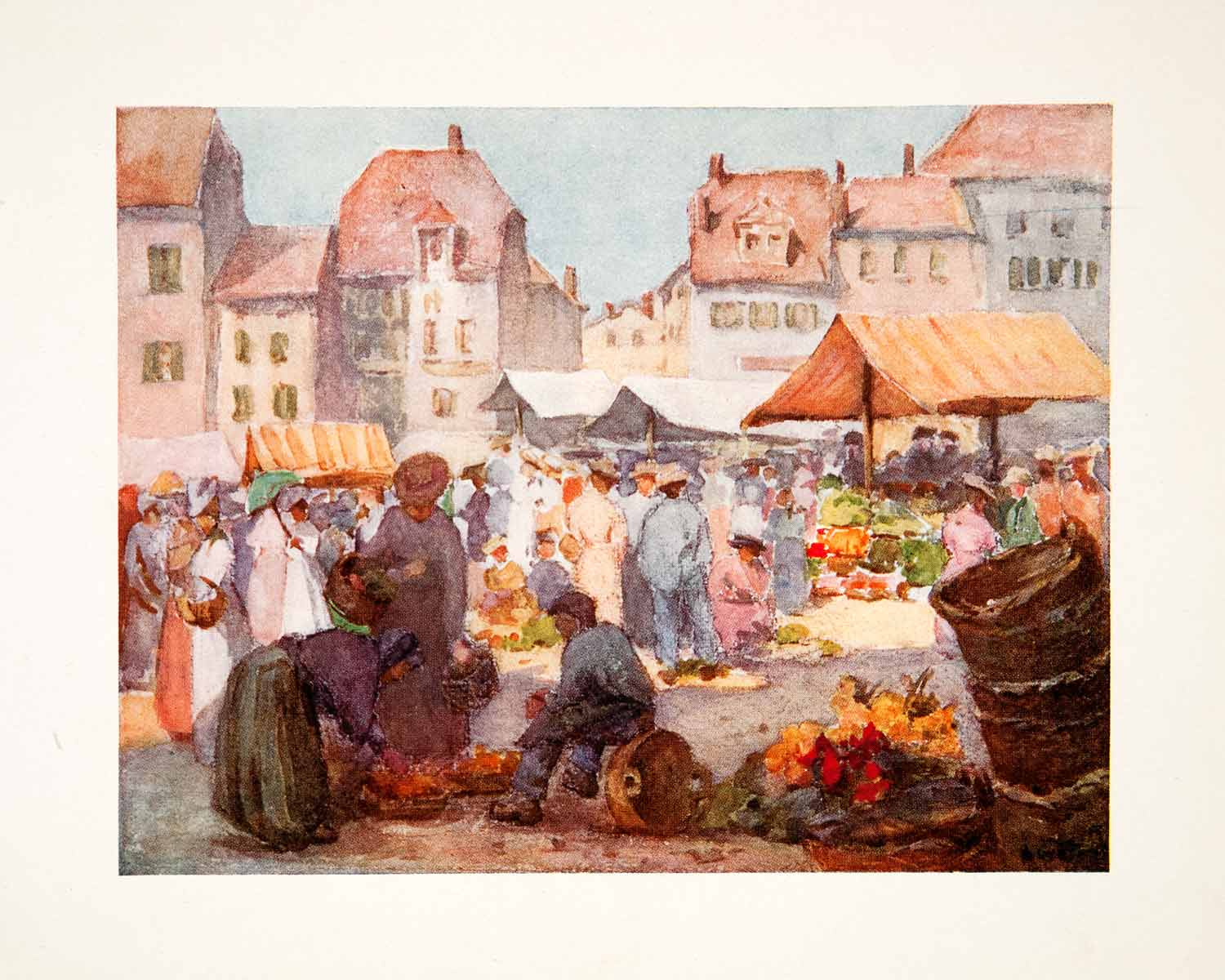 1908 Color Print Vevey Switzerland Marketplace Bazaar May Hardwicke Lewis XGQB1