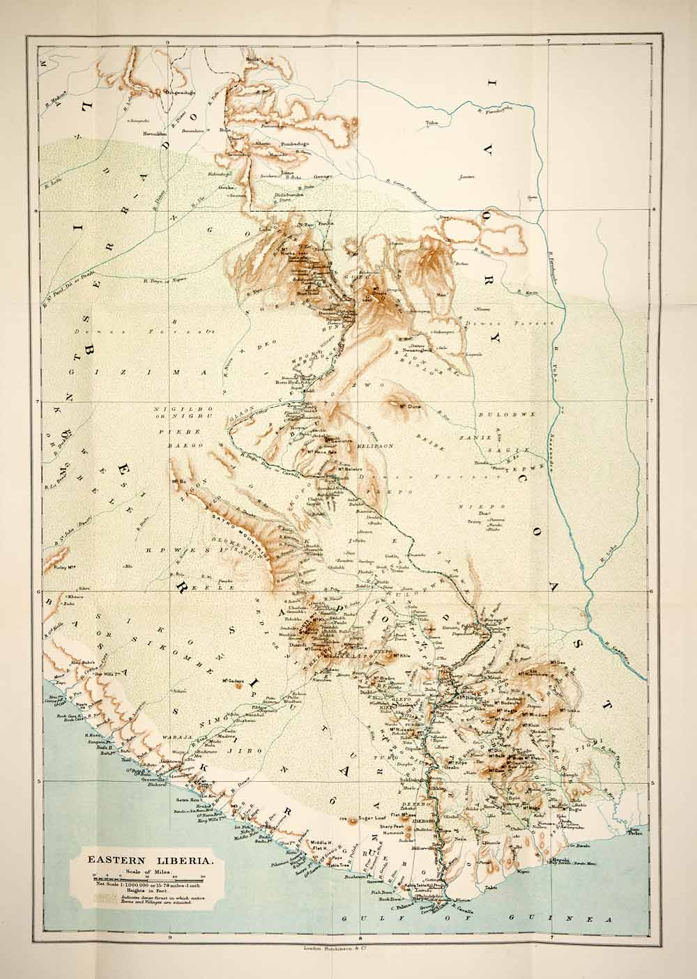 1906 Lithograph Antique Map Eastern Liberia Africa Greenville Palmas ...