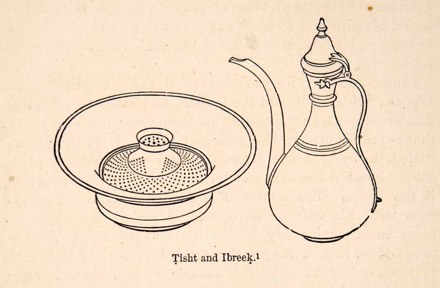 1871 Wood Engraving Tisht Ibreek Basin Pitcher Container Soap Washing XGQB7
