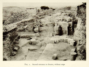 1937 Collotype Theater Entrance Tzippori Sepphoris Israel Archeology XGQC3