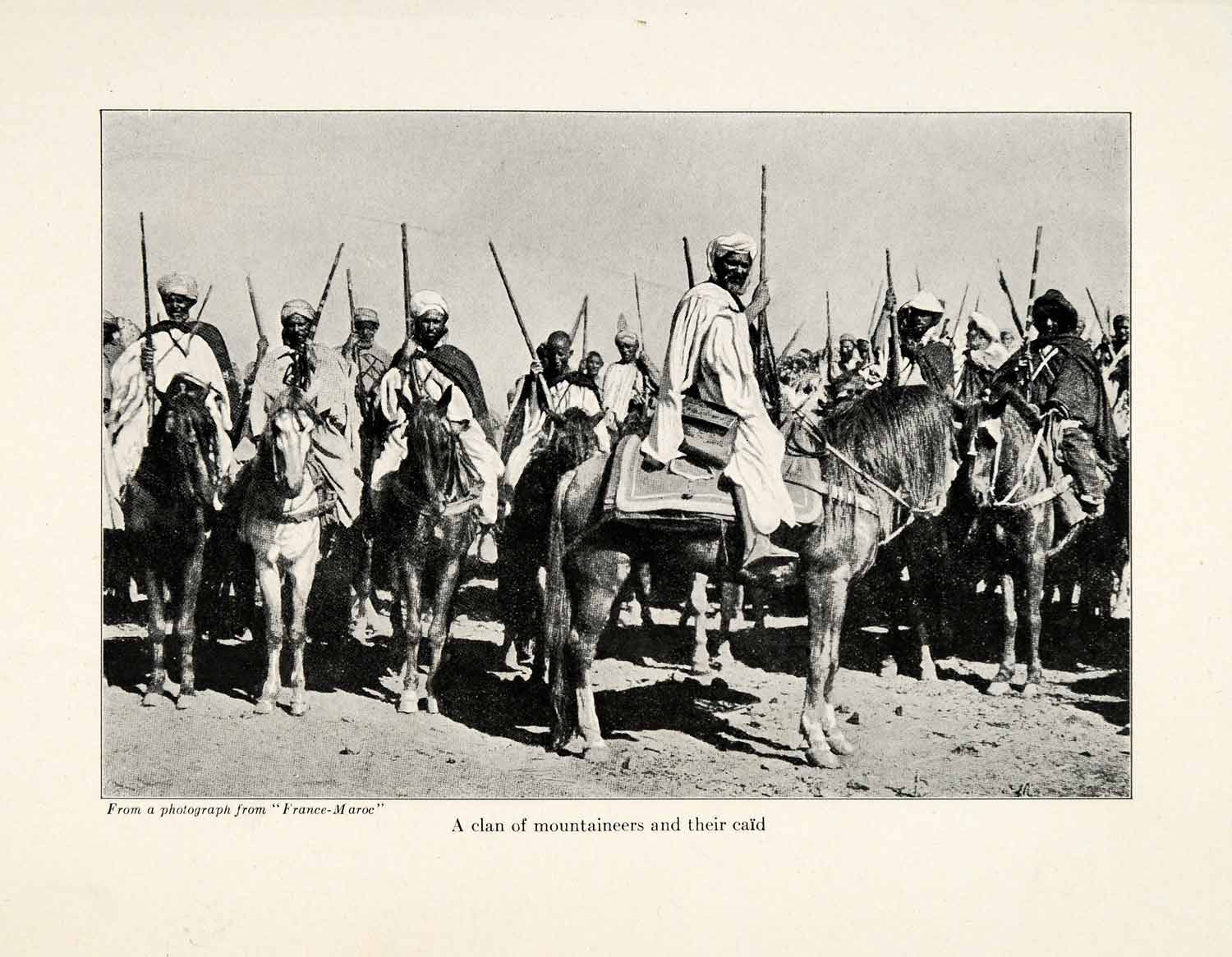1920 Print Morocco Mountaineer Berber Caid Horses Rifles Head Cover XGR1