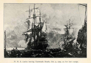 1926 Print Lutine Yarmouth Roads Frigate Sunken Treasure Gold Royal Navy XGR4