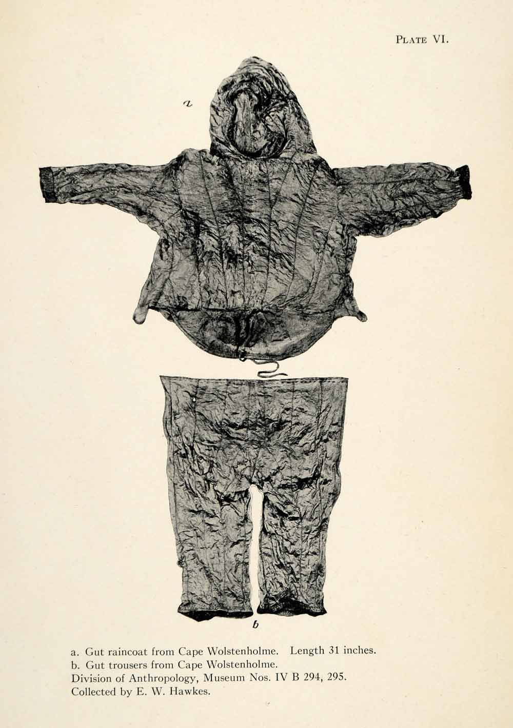 1916 Halftone Print Inuit Raincoat Trousers Cape Wolstenholme Clothing XGR6