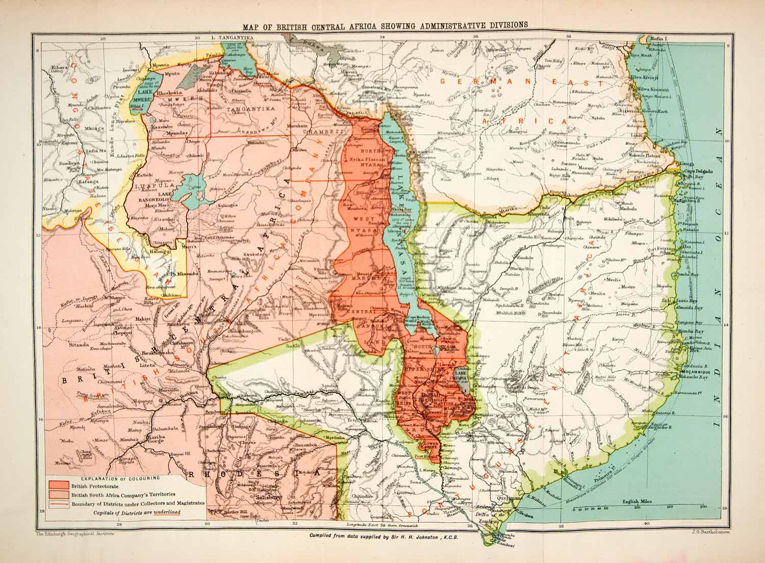 1898 Lithograph Map British Central Africa Administrative Divisions