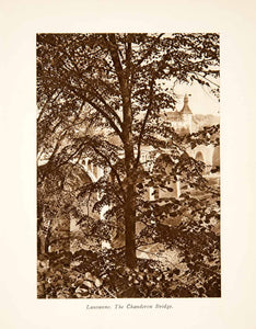 1929 Photogravure Switzerland Chauderon Bridge Lausanne Romandy Tree XGRB8