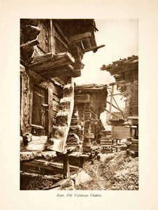 1929 Photogravure Chalet Cabin Village Ayer Switzerland Valais Alps Path XGRB8