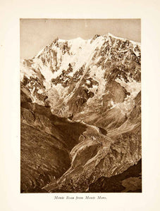 1929 Photogravure Monte Rosa Switzerland Dufourspitze Mountain Alps XGRB8