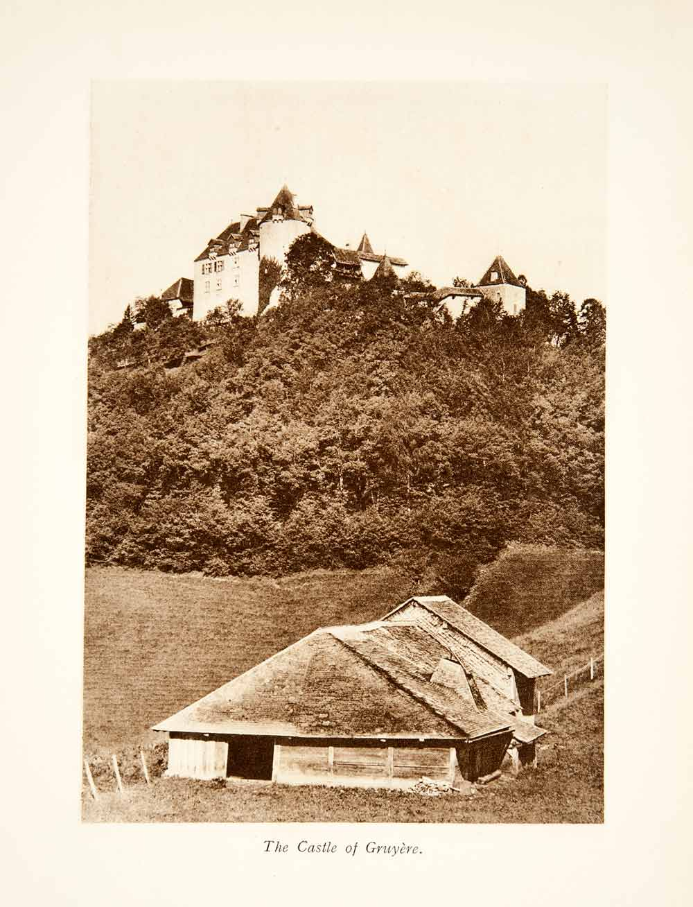 1929 Photogravure Gruyeres Switzerland Castle Fribourg Alps Village XGRB8