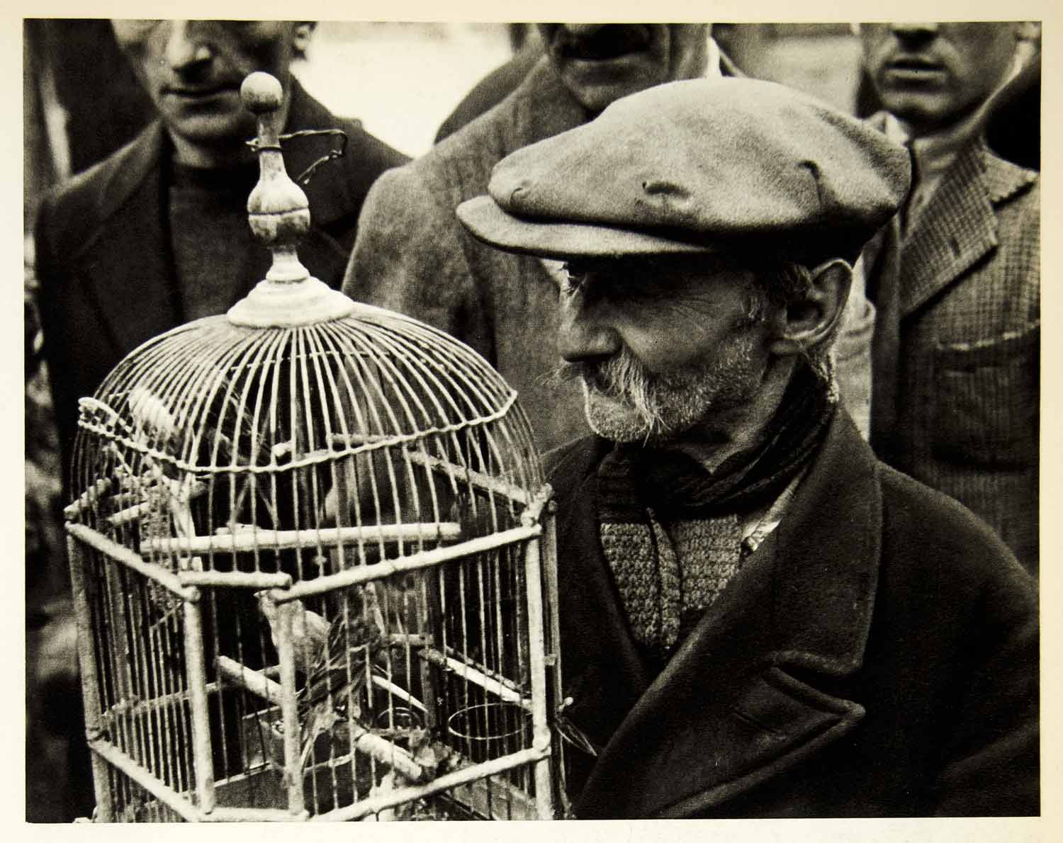 1954 Rotogravure Bird Market City Square Paris France Cage Barter Roth XGRC1