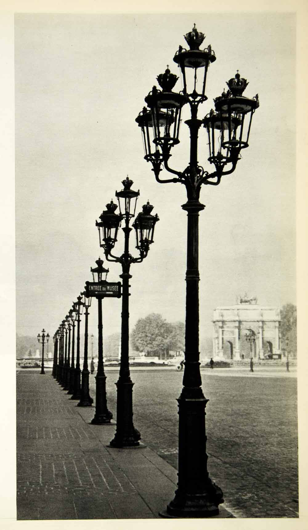 1954 Rotogravure Lamppost Filigreed Entrance Louvre Paris France Roth XGRC1
