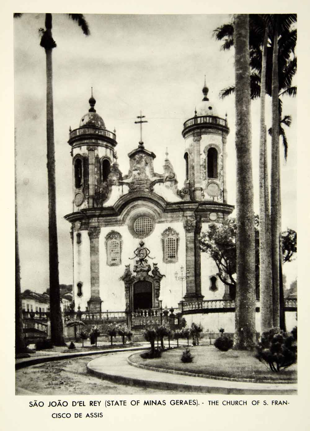 1939 Rotogravure Sao Joao del Rey Rei Church Saint Francisco de Assis XGRC6
