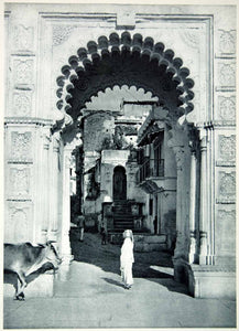 1955 Rotogravure Gateway Udaipur Rajasthan India Cow Hinduism Architecture XGRC8