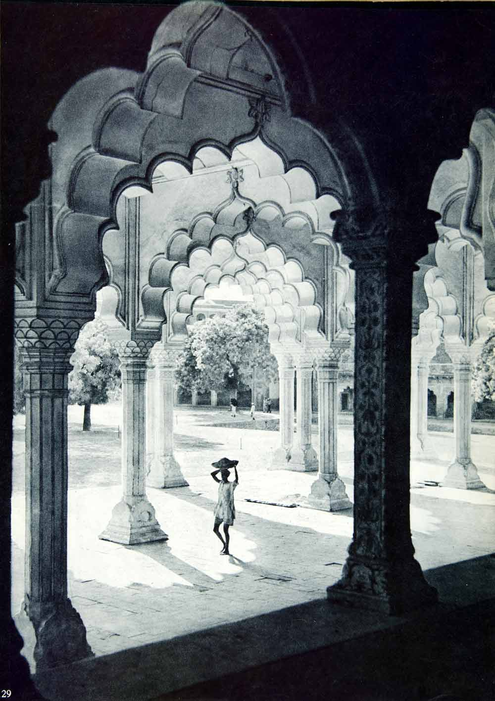 1955 Rotogravure Diwaniam Red Fort Agra India Colonnade Shah Jahan XGRC8