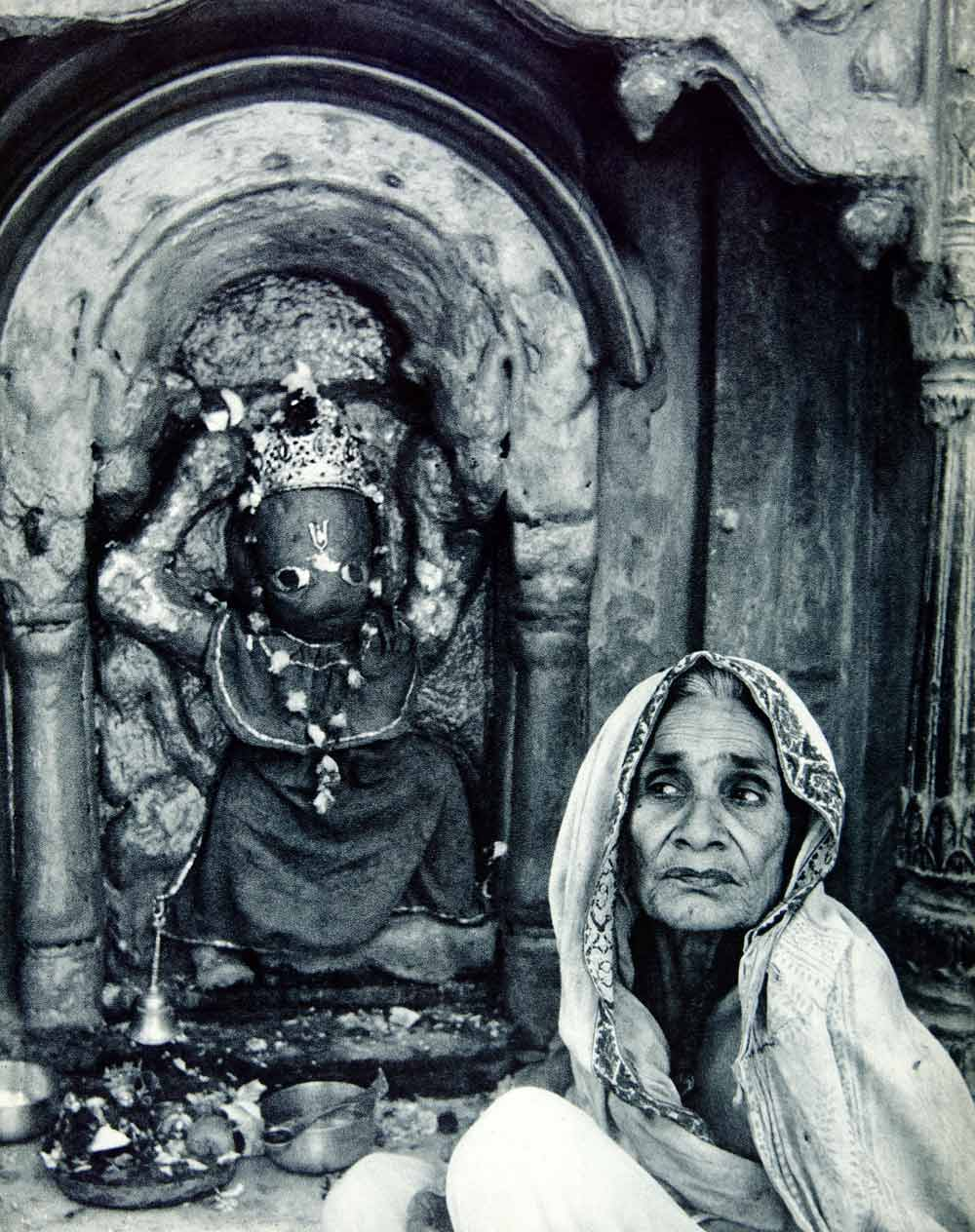 1955 Rotogravure Hinduism Shrine Hanuman Monkey God Deity Worship Temple XGRC8