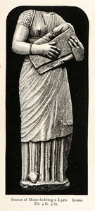 1878 Wood Engraving Cyprus Statue Muse Lyre Instrument Music Drapery XGS3