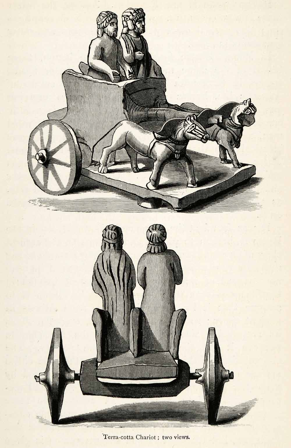 1878 Wood Engraving Cyprus Kourion Curium Terracotta Chariot Horse Wagon XGS3