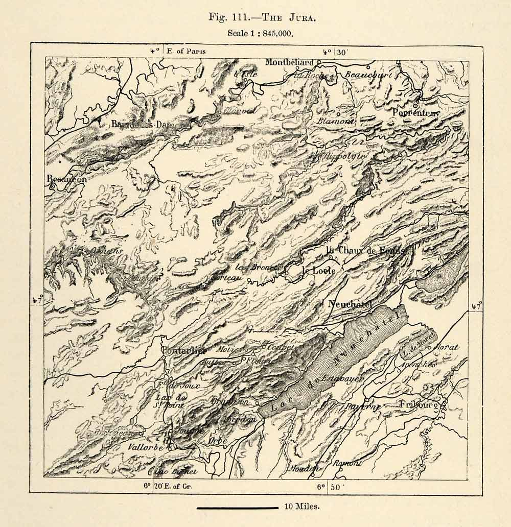 Map Of France Jura.1882 Relief Line Block Map Topographic Map Jura France Lac Neuehatel