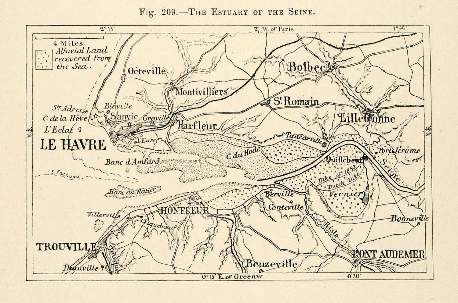 Map Of France Le Havre.1882 Relief Line Block Map Estuary Seine River France Havre Pont Audemer Xgs6