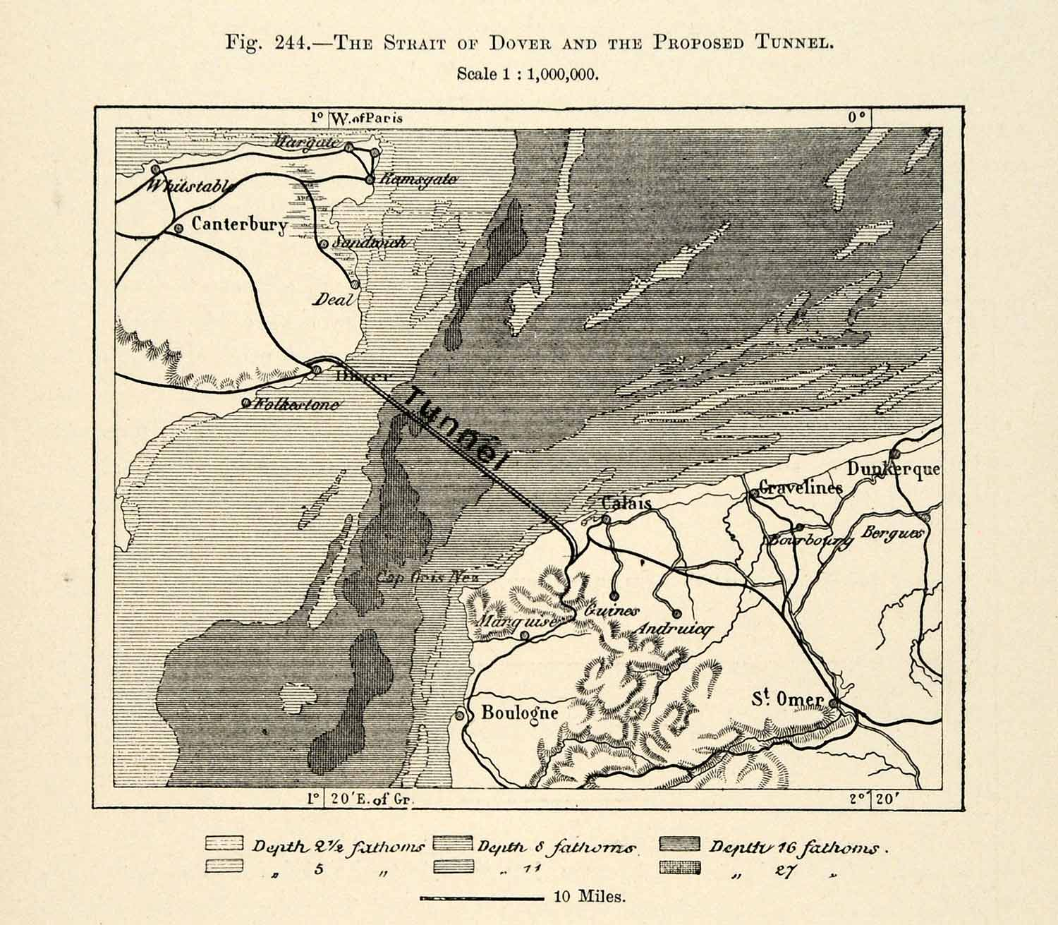Map Of France Calais.1882 Relief Line Block Map Strait Tunnel Map Canterbury France Calais Xgs6