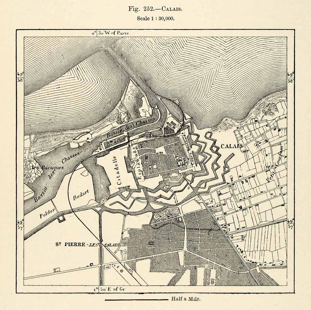 Map Of France Calais.1882 Relief Line Block Map Calais France French Map St Pierre Bodart Xgs6