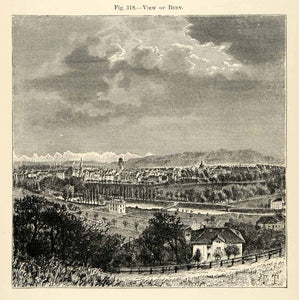 1882 Wood Engraving Bern Switzerland City Cityscape Valley Town Countryside XGS6