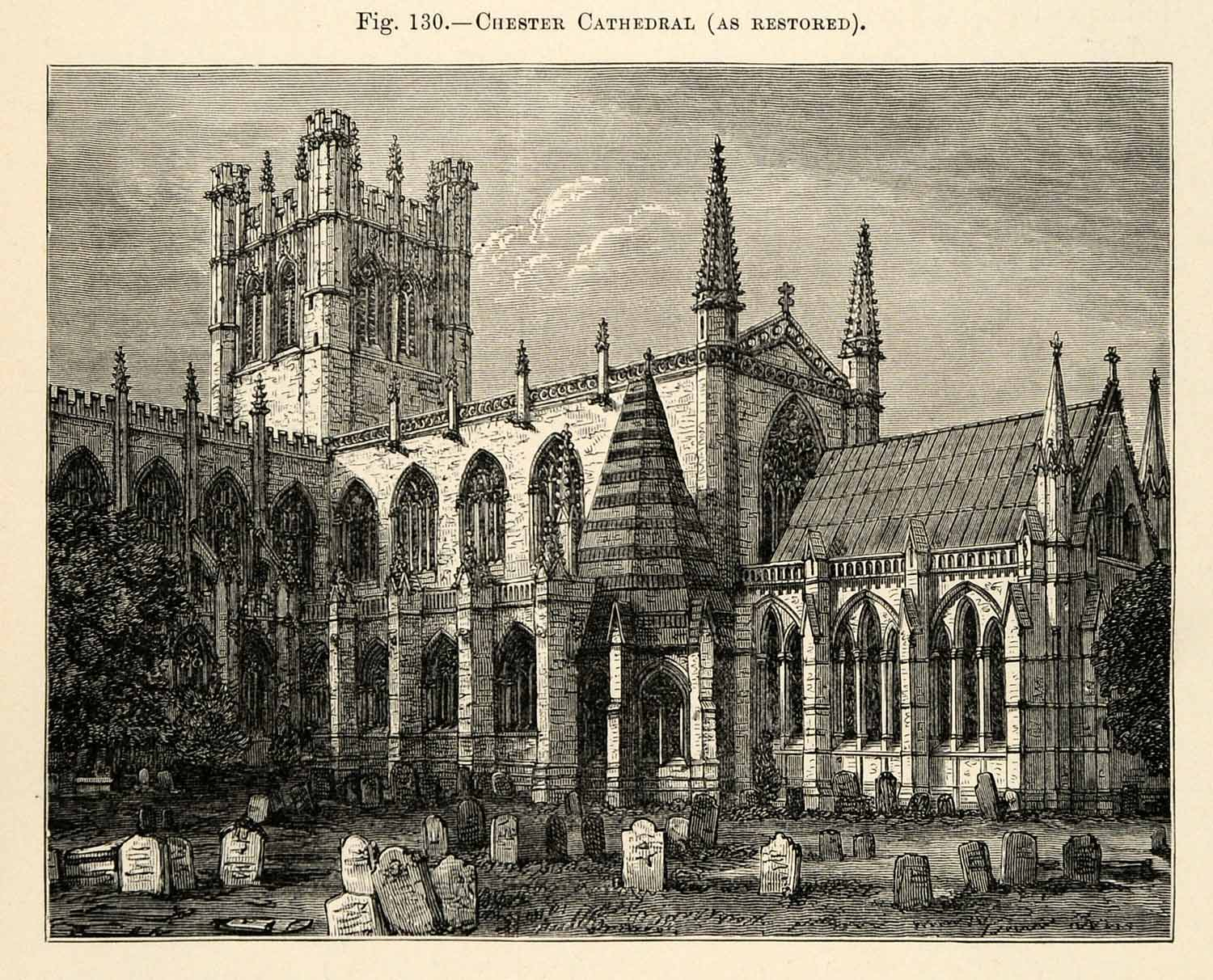1882 Wood Engraving Chester Cathedral Cheshire England Architecture XGS6
