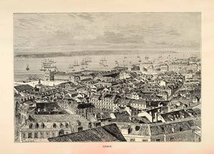 1882 Antique Wood Engraving Art Lisbon Portugal Cityscape Harbor Coastal XGS6