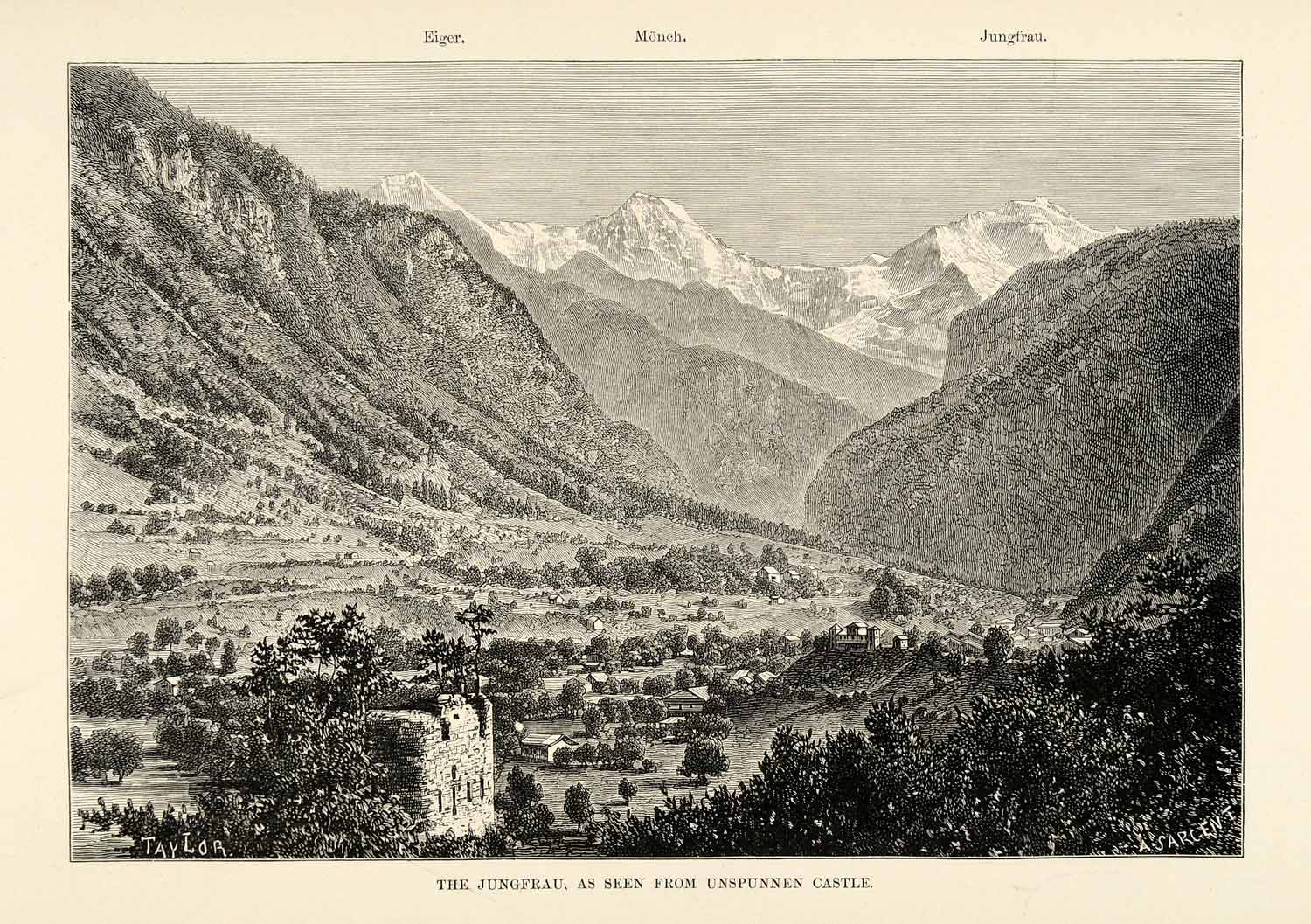1882 Wood Engraving Jungfrau Bernese Alps Eiger Mountain Landscape XGS6