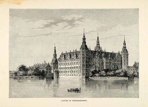 1882 Wood Engraving Frederiksborg Palace Royal Castle Hillerod Denmark XGS6