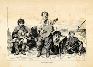 1882 Wood Engraving Little Russia Ukraine Malo Russian Lute Musical XGS6