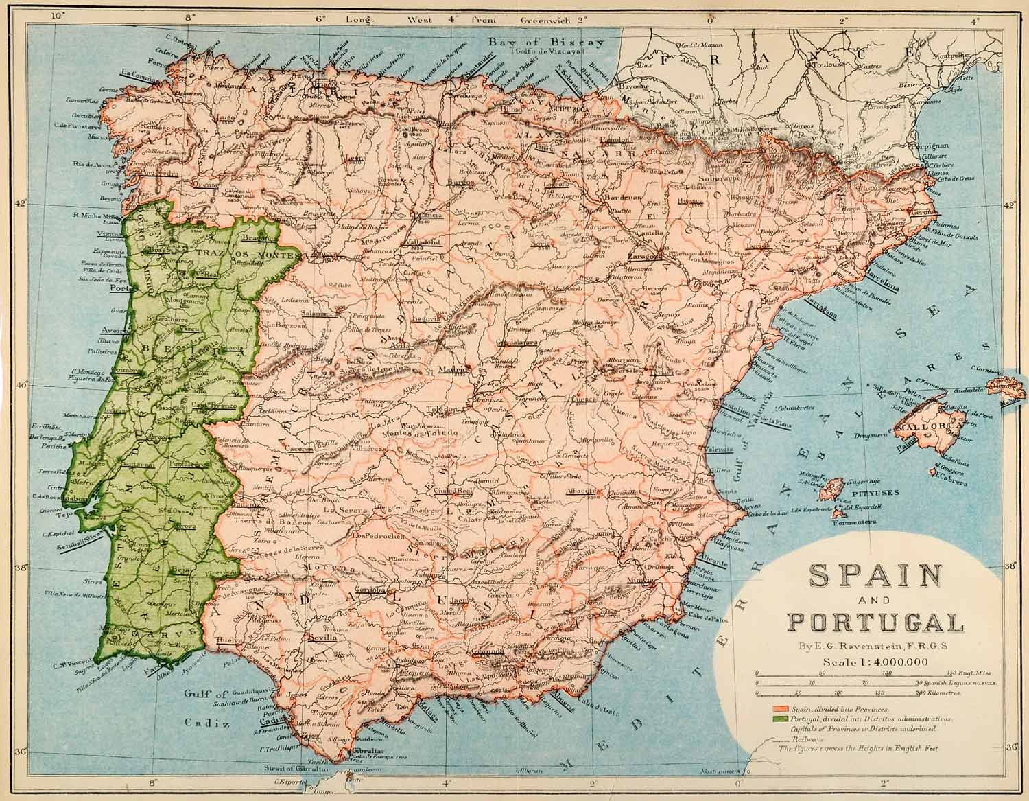 Map Of Spain Portugal.1882 Photolithographed Map Spain Portugal Biscay Bay Cadiz Sevilla Galicia Xgs6