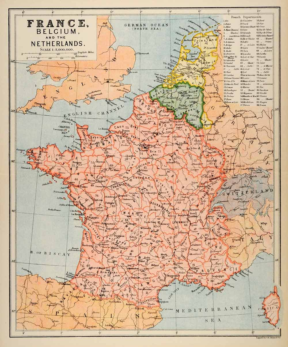 Map Of France Belgium.1882 Photolithographed Map France Belgium Netherlands Corsica Italy Germany Xgs6