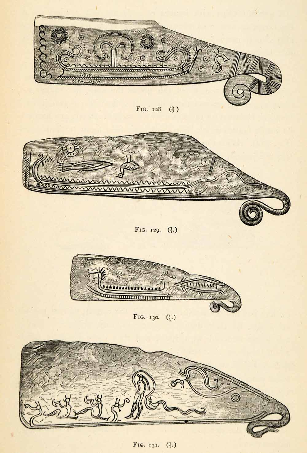 1882 Woodcut Archaeological Weapons Bronze Age Knives Ornaments Patterns XGS8