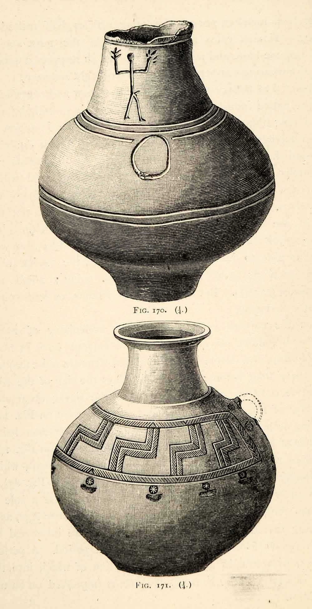 1882 Woodcut Earthen Vessels Symbols Ornaments Archaeological Iron