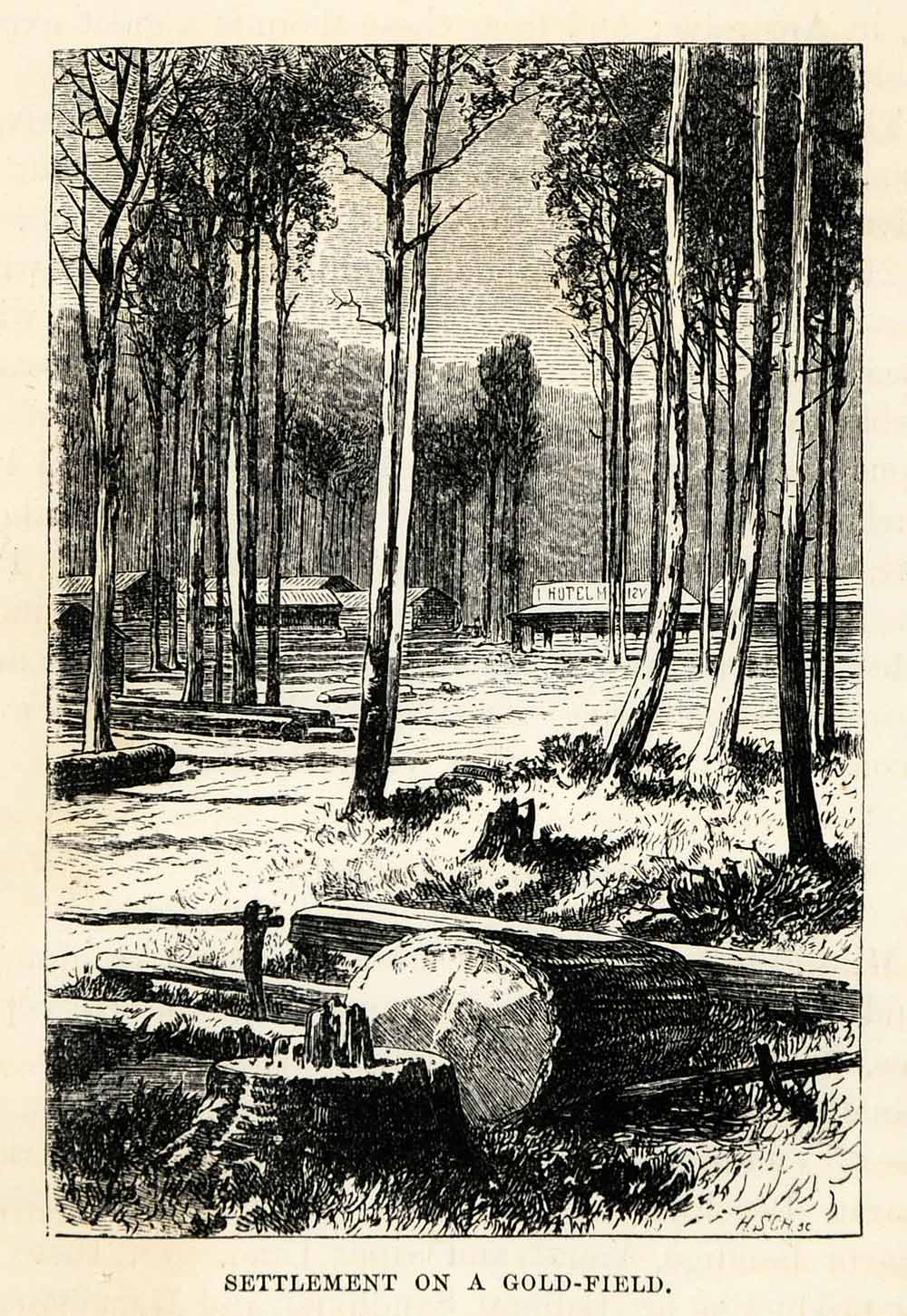 1879 Wood Engraving Settlement Gold Field Rush Mine Hotel Queensland XGS9