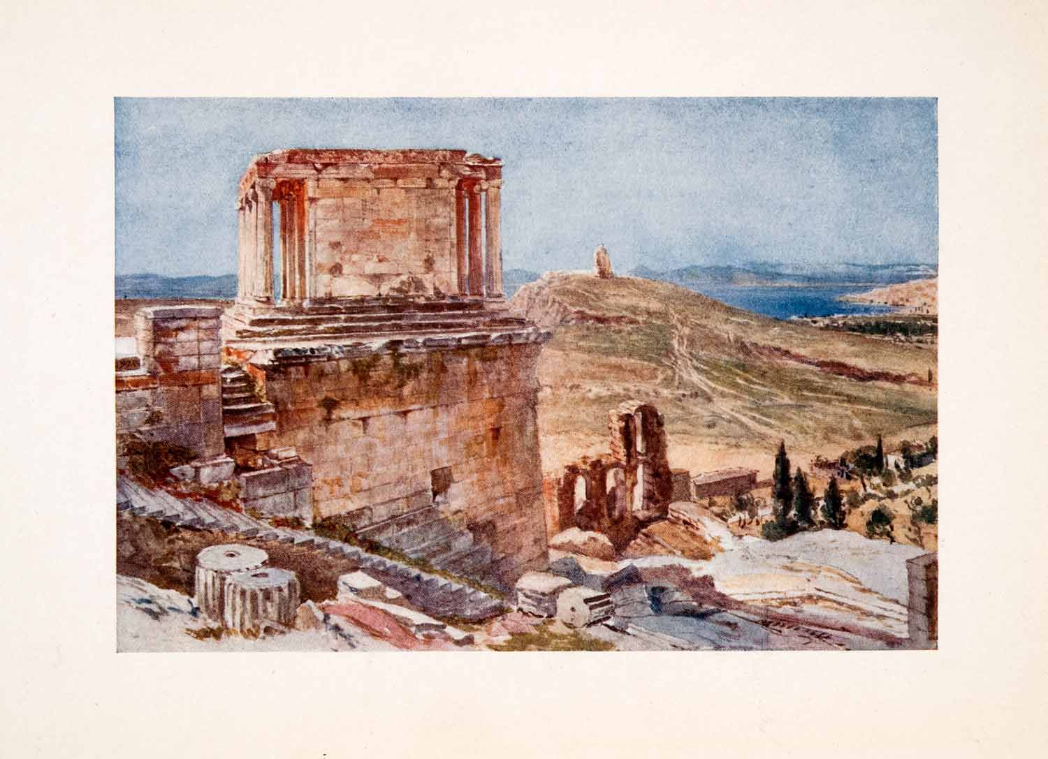 1906 Color Print Bastion Temple Wingless Victory Ascent Propylaea Ruin XGSA3