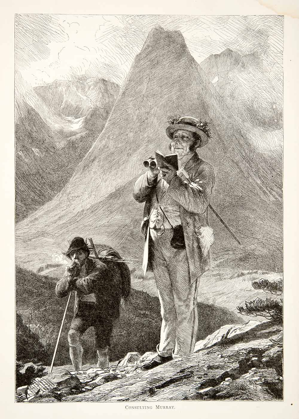 1891 Wood Engraving Alps Mountain Peak Hiker Guidebook Switzerland Trail XGSB1