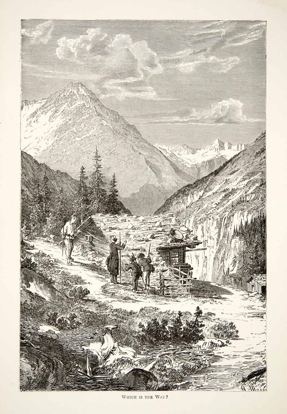 1891 Wood Engraving Alps Mountain Trail Hiker Climber Chalet Cabin XGSB1