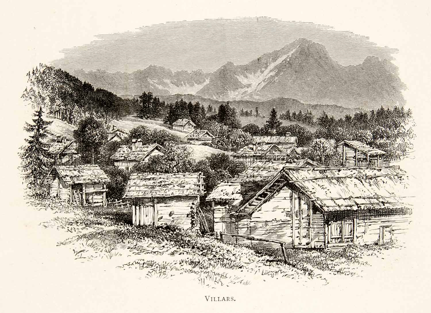 1891 Wood Engraving Alps Villars Switzerland Rhone Mountain Village Chalet XGSB1