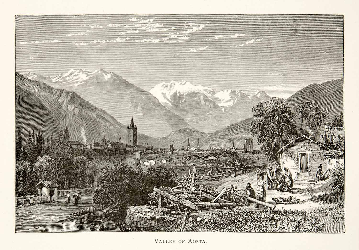 1891 Wood Engraving Aosta Valley Italy Alps Mountains Village Landscape XGSB1