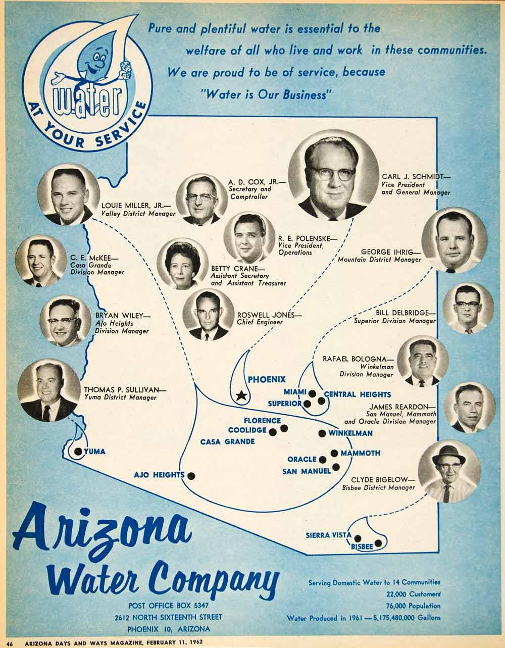 1962 Ad Arizona Water Polenske Ihrig Delbridge Bologna Reardon Bigelow XGSC4