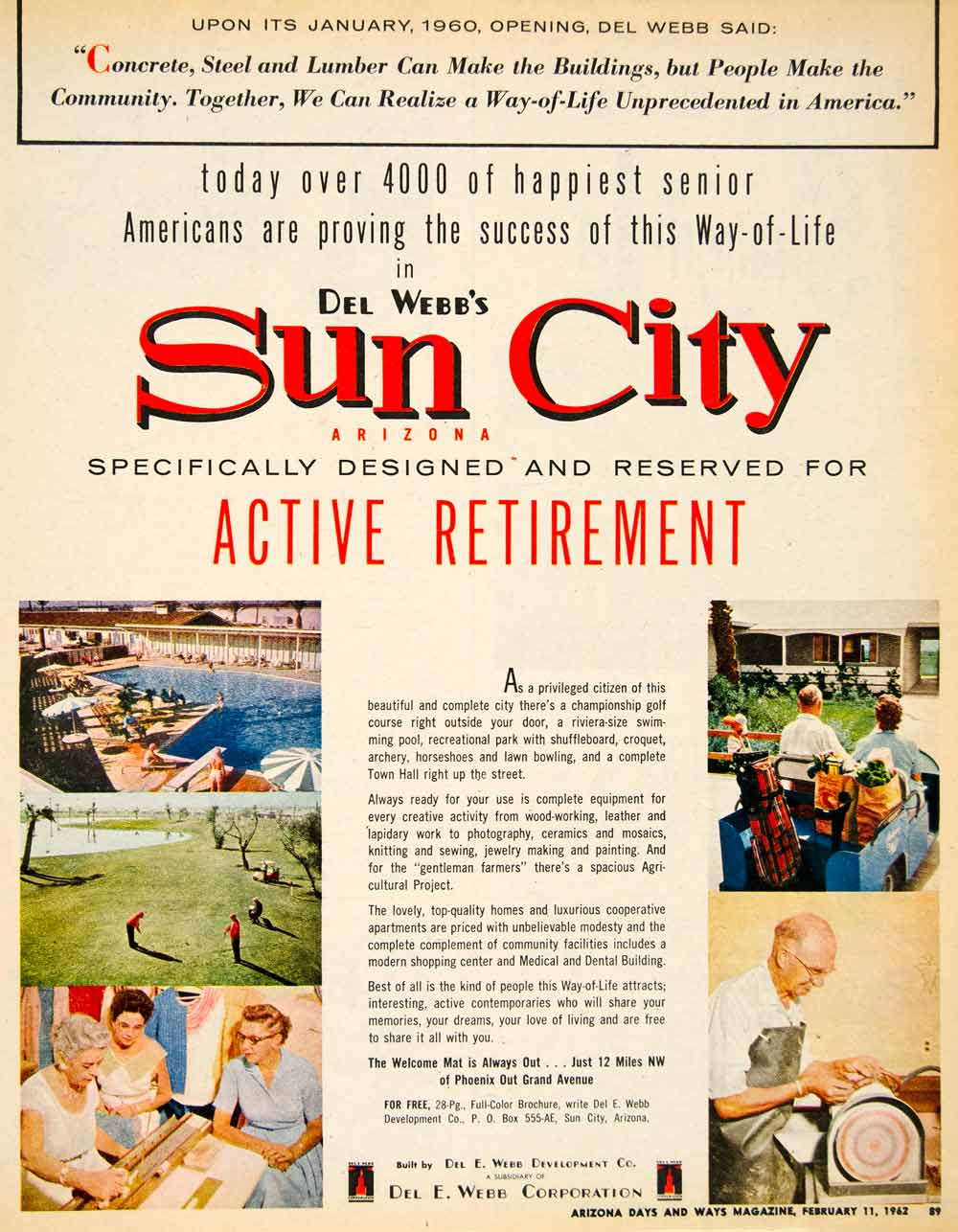 1962 Ad Sun City Del E Webb Development Retirement Concrete Steel Lumber XGSC4