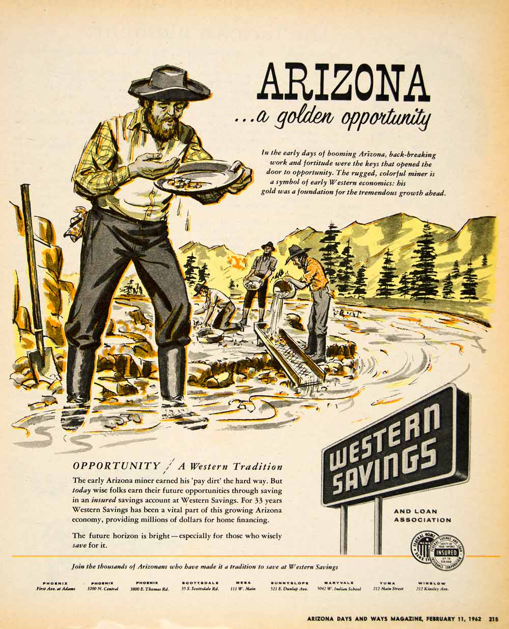 1962 Ad Western Savings Loan Arizona Miner Gold Opportunity Insured XGSC4